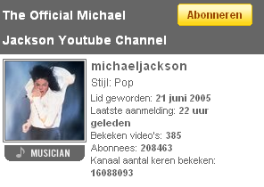 Michael Jackson originele YouTube channel